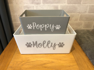 Personalised Cat Dog Pet Toy Box Plastic Caddy Basket Storage For Treats food