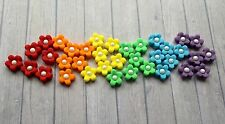 30 Pasta di Zucchero Commestibili Fiori con Perle centro Decorazioni per Cupcake-ARCOBALENO