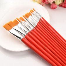 12Artist Nylon Hair Paint Brush Set Pintura Al óleo Acuarela Suministros MejorVP