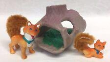 Vintage Littlest Pet Shop Mommy Fox Playful Baby Log Foxes LPS Parts Kenner 1996