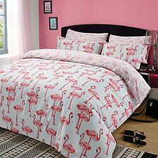 Pink Flamingos Double Duvet Cover Set 2 Designs in 1 Bedding - Washed