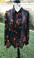 CAbi Catherine Ruffle Front Blouse Midnight Tunic Top Black Red Orange XL NWT