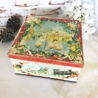 Antique Christmas Biscuit Tin Litho Box, Huntley Palmers Vintage carolers Dicken