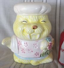Vintage Yellow  Walrus Cookie Jar Crown Royal Bakers Hat Flowers Ceramic