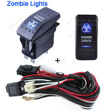 5-Pin Zombie Lights SPST Blue LED Indicator Rocker Switch W/ Relay Harness Wire