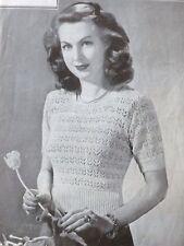 "Vintage Knitting Pattern 1940's Ladies Lacy Short Sleeved  Jumper 35""-39"" B1702"