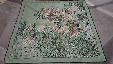 Foulard vintage scarf woman 76x76 Texture  100% poliestere green Flower