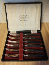 Vintage Lewis Rose Real Buffalo Horn Stainless Steak Knives,Sheffield England