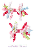 Gymboree NWT 2-pc Red TULLE ROSETTE FLOWER CLIPS DRESS HAIR ACCESSORY ~ OS