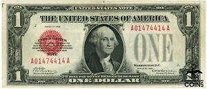 1928 United States $1 Red Seal Note VIVID COLOR CRISP PAPER