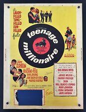 Original 1961 TEENAGE MILLIONAIRE 30 x 40 Movie Poster CHUBBY Jimmy Clanton
