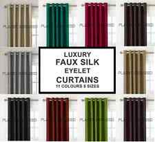 LUXURY PAIR OF FAUX SILK EYELET READY MADE FULLY LINED CURTAINS + TIE-BACKS