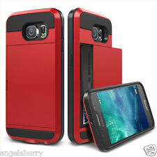 Red Galaxy S5 Slide Card Armor Hard Tough Heavy Duty Case Cover for Samsung