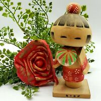 Vintage Japanese KOKESHI Doll Red White Floral Wooden Japan Carved Wood 6""