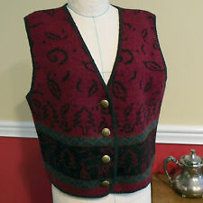 ALPS Red - Black Boiled Wool Sweater Vest NWT