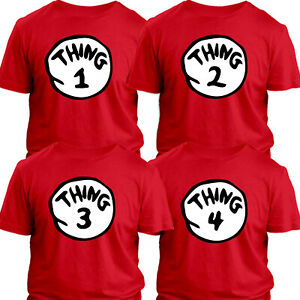 Thing1,2,3,4 T-shirt Dr the Hat Fancy Dress Costume World Book Day Tshirt