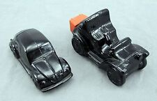 Avon Black Glass Vintage Old Car and Volkswagen Aftershave Decanters - Set of 2