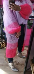 Pink Ombre Longline Open Front Cardigan Balloon Sleeves One Size 10-20 Italy
