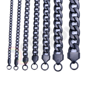 "Men's Women's Stainless Steel Necklace Black Cuban 3-12mm Chain 18-36"" Link C08"