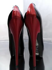 1969 ITALY LACK LEDER HOHE Plateau Stiletto RC5 Pumps Schuhe Leather High Heels