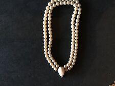 Vintage GoldTone Pierre Cardin Crystal Faux Pearl Double Strand Pendant Necklace