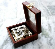 Nautical Brass Pocket Sundial Compass W/Wooden Box Directional Replica Royal Itm