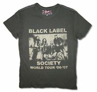 Black Label Society VIntage Mens Charcoal Grey T Shirt New Official Tour 2006-07