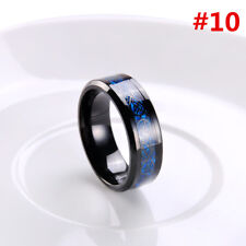 8mm Silvering Celtic Dragon Tungsten Carbide Ring Mens Jewelry Size7-10 Fashion Blak Blue #10