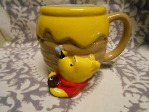 Cute Winnie The Pooh Honey Pot Ceramic 3D Sculpted Mug Hot Cold Drinks Cup 23 Oz