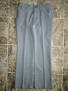 Vintage Farah Men's Pants 32x31 Polyester 1970's Gray Hipster Dress Trousers EUC