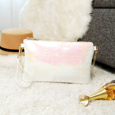 Women Bling Sequins Evening Clutch Purse Hand Bags Cross Body Chain Shoulder Bag White