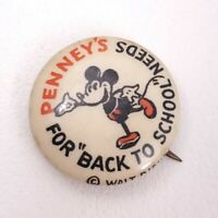 "Mickey Disney Penny's 1930's Vintage Button 7/8"" Dia. Pinback"