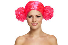 80's Pink Bunches Fancy Dress Disco Wig