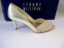 "Stuart Weitzman Gold Chantilly Lace ""Chantelle"" Swarovski Trim Pump 7.5 N  NEW"