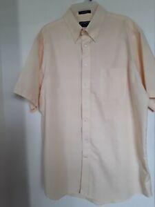Stafford Essentials Pale Yellow Cotton Blend Oxford DRESS SHIRT Sz 17 1/2