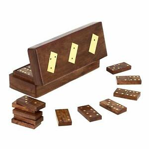 Wooden Domino box with Dominoes, 20.32 Centimeters