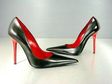 CQ COUTURE ITALY NEW RED HEELS POINTY PUMPS SCHUHE DECOLTE LEATHER BLACK NERO 36