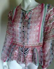 Buffalo Women Top blouse Bohemian See Through Geo Scarf Print boho LARGE 79$