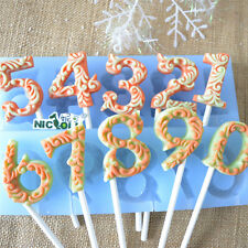 Numbers Silicone Mold Lollipop Fondant Cake DIY Chocolate Candy Baking Tools