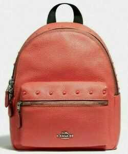 NWT Coach F45070 mini Charlie Studs small size Backpack Leather Coral