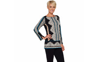 Susan Graver Printed Liquid Knit Tunic Black/Teal Medium A294859 QVC J