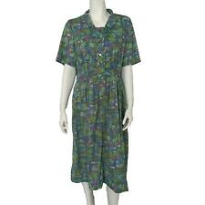 New listing Vintage Tailored By Treba Dress Multicolor Purple Blue Green Short Sleeve Small