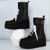 Womens Gothic Platform Wedge Heels Creeper Shoes Lace Up Punk Ankle Boots Sbox4