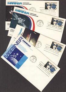 1975 Mariner 10 Sc 1557 FDC Fleetwood premium cachets set of 4 different