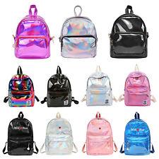 Women Hologram Backpack Girl Laser PU Mini Tote  Zipper School Shoulder Bags