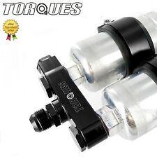 Twin Bosch 044 Fuel Pump Billet Aluminium Assembly INLET Manifold In Black