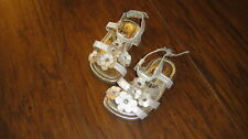 SIMPLY PETALS 5 WHITE GOLD FLOWER SANDALS SHOES TODDLER GIRL