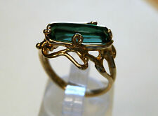 18 ct yellow gold natural green tourmaline ring   3 carat gemstone