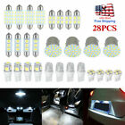 28pcs Car Interior White Combination LED Dome Door Trunk License Plate Bulb US