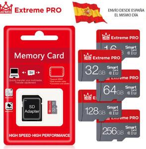 Tarjeta Memoria Micro SD 16,32,64,128,256 GB con adaptador de regalo. CLASE 10